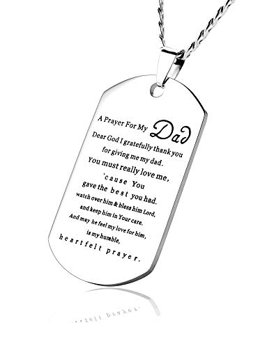 CALIS to My Dad Dog Tag Necklace Engraved A Prayer for My Dad Inspirational Gift for Men ()