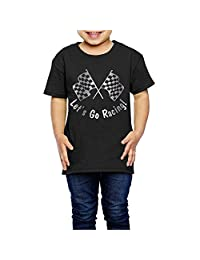 Little Girls' Let's Go Racing Checkered F Platinum Style 2-6 Years Old Toddler T-Shirt