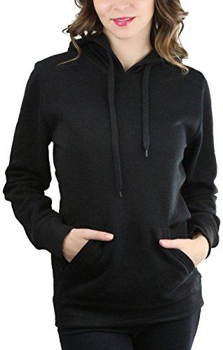 ToBeInStyle Women's Long Sleeve Kangaroo Pocket Pullover Hoodie - Black - Small