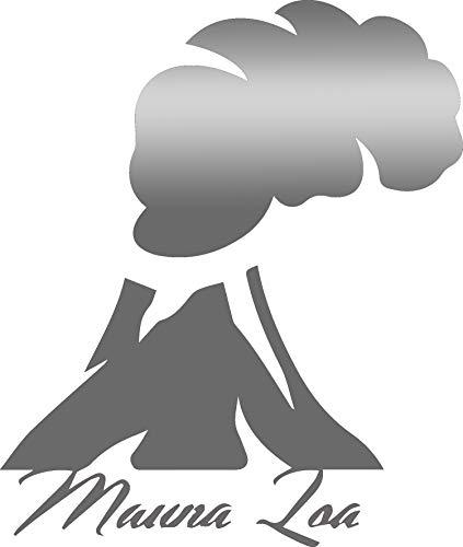 (USCLIFESTYLE Hawaii Mauna loa Volcano (Metallic Silver) (Set of 2) Premium Waterproof Vinyl Decal Stickers for Laptop MacBook Phone Tablet Helmet Car Window Bumper Mug Tuber Cup Door Wall Decoration)