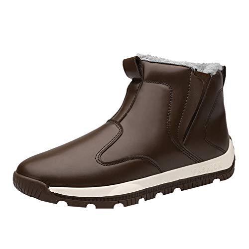 Taglia Taglia Taglia 45 con Nero Nero Nero Nero 39 Stivali Boots Imbottitura Stivaletti Impermeabile Slip Marrone Stivali Marrone Scarpe Stivaletti Blu Uomo da Piatto on Neve Calda Scarpe Invernali xRwYWBYqd