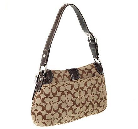 Coach-Soho-Pleated-Signature-Flap-Purse-Handbag-15203-Khakimahogany