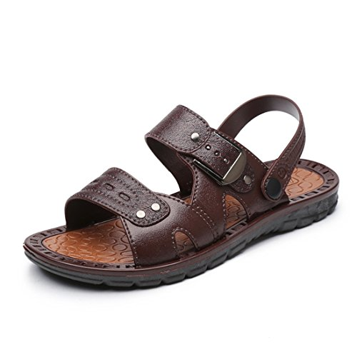 Hombres Outdoor Fisherman Leather Beach Athletics Walking Senderismo Sandalias 1601 Marrón