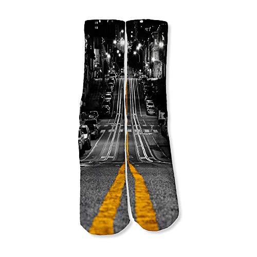 Funny Novelty Socks Perfect for Gifts, Women, Men, Dad, Birthdays, Boyfriend, Girlfriend/City Roads Downtown -