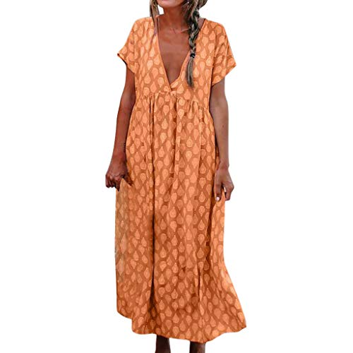 YKARITIANNA Women's Print Short Sleeve V-Neck Casual Ankle-Length Dress Summer Long Dress Orange