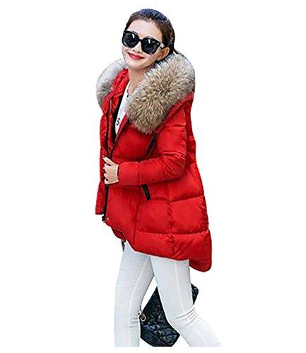 YOUJIA Mujer Casual Espesar Cálido Invierno Abrigo Acolchado Chaquetas con Capucha de Piel Sintética: Amazon.es: Ropa y accesorios
