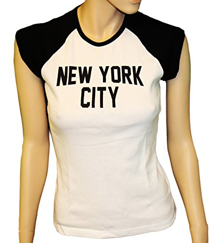 (Ladies Raglan John Lennon T-Shirt Womens New York City Tee Rib Cap Sleeve (XL) White)