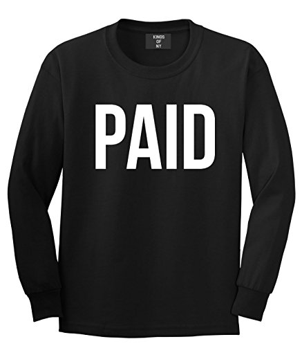 Kings Of NY Paid Money Cash Style Girls Kids Boys Long Sleeve T-Shirt Medium Black