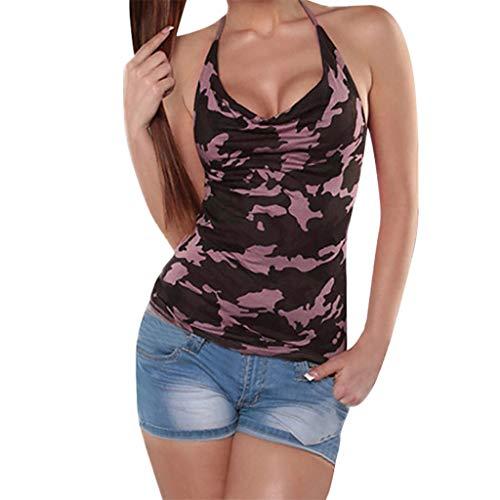 (Sunhusing Women's Camouflage Print Halter Tank Top Slim Fit Frilled Pleated Sleeveless T-Shirt )