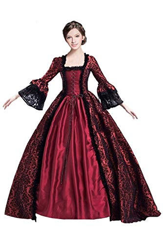 Womens Classic Gothic Vampire Dress Court Midnight Queen Princess Medieval Lolita Ball Gown -