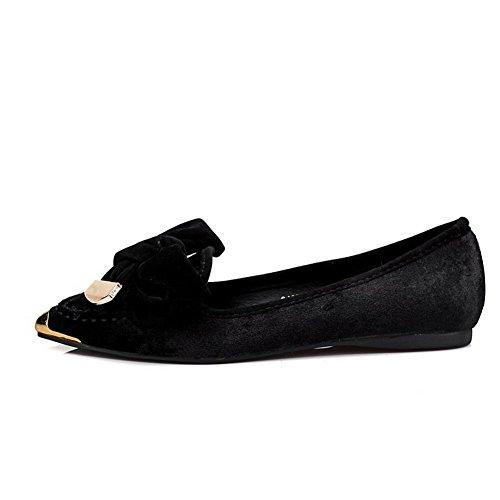 AllhqFashion Damen Rein Mattglasbirne Ohne Absatz Ziehen auf Spitz Zehe Flache Schuhe, Grau, 37