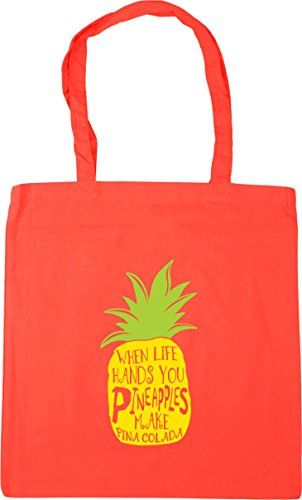 HippoWarehouse When Life Hands You Pineapples Make Pina Colada Tote Shopping Gym Beach Bag 42cm x38cm, 10 litres Coral