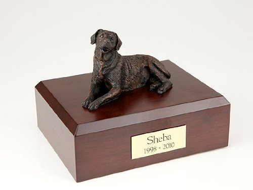GENUINE North American Hardwood and Bronze Labrador Laying Dog Figurine Urn TR200-440 Large by Ever My Pet