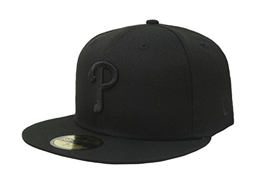 MLB Philadelphia Phillies Black on Black 59FIFTY Fitted Cap, 7 5/8