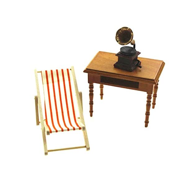 FOTN Premium Quality Miniatura Dollhouse Pieghevoli in Legno Beach Chair Chaise Longue Giocattoli 4 spesavip
