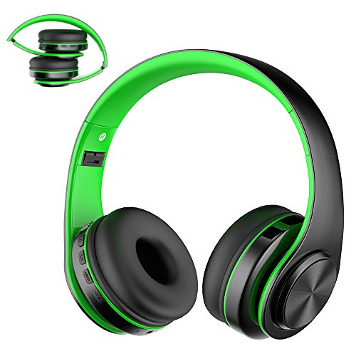 Viwind Wireless Bluetooth Headphones Over Ear with Mic,Foldable Noise Cancelling Headset for Travel Work TV PC Android Cellphone 【Hi-Fi Stereo &Comfortable Earpads】-Green