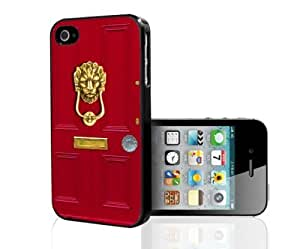 Chic Red Door with Lion Head Door Knocker Hard Snap on Case(iPhone 5/5s) Designed by HnW Accessories hjbrhga1544