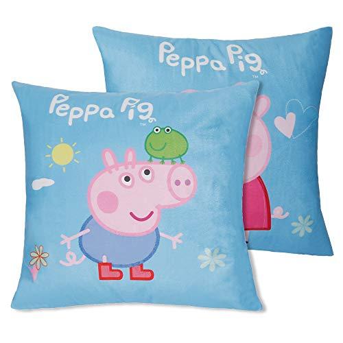 Jerry Fabrics Set of 2 100% Cotton Velvet Soft Sky Blue Cartoon Peppa Pig Decorative Throw Pillow Cover Home Decor Design Set Cushion Case for Sofa Bedroom Car Hiddern Zipper 18×18 Inch(45×45 cm)