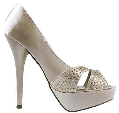 Lora Dora Womens Satin Peep Toe High Heel Shoes Bridal Size UK 3-8 Champagne V3BWBHRM2b