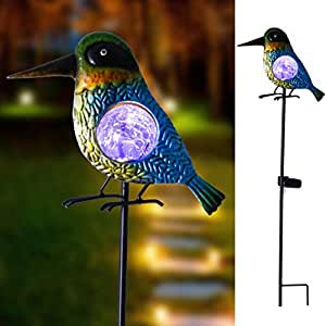 "Hannah's Cottage 29"" Outdoor Paradise Metal Garden Stake with Solar Led Lights, Decorative Solar Bird Stake for Garden, Patio, Backyard and Outdoor (Purple and Blue)"