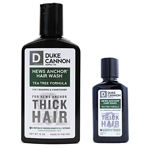 (Duke Cannon News Anchor Thick Hair Wash 2-in-1 Shampoo and Conditioner for Men Combo, 10 oz + 3 oz - Tea Tree)