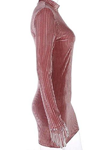 Sleeve Velvet Bodycon Pink Turtleneck Chic Long Mini Coolred Women Dress Eq6vaY
