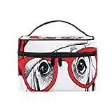 Cosmetic Bags Merry Christmas Hat Cartoon Dog Head Large Travel Makeup Organizer Double Zipper Toiletry Pouch Bag