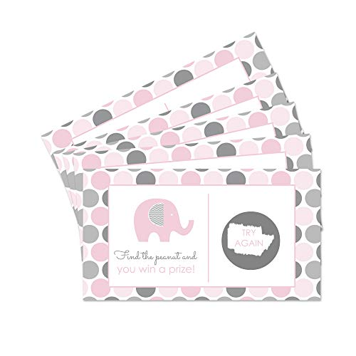 (Pink and Grey Elephant Scratch Off Game - Set of 28)