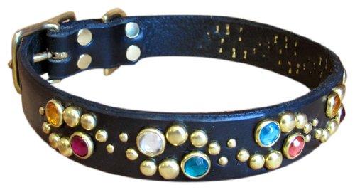 "Paco Collars - ""Glow"" - Exclusive Handmade Leather Medium Dog Collar - 1""Wide - Brass - Chocolate 20""-22"""