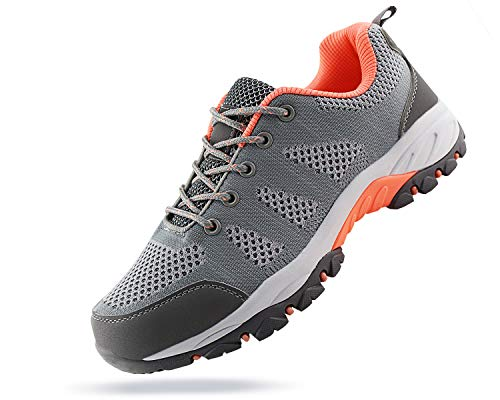 Jabasic Women Hiking Shoes Breathable Mesh Athletic Outdoor Sneakers (Lt.Grey/Pink,10)