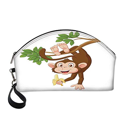 Cartoon Beautiful Women's semi circular cosmetic bag,Funny Monkey Hanging from Tree with Banana Jungle Animals Theme Mascot Print Decorative For traveling,10.8