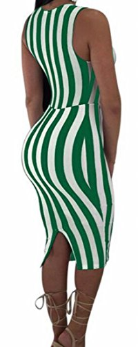 Cut Club Deep Green Dress Bodycon Striped Domple Women Sexy Sleeveless Out Neck Midi V wXOxO8qfE