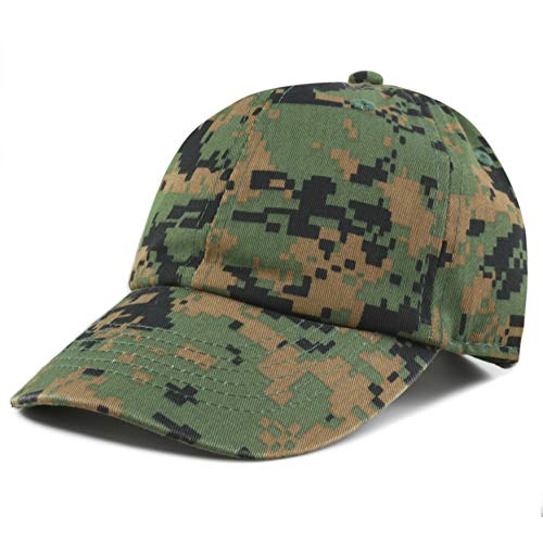 The Hat Depot Kids Washed Low Profile Cotton and Denim Plain Baseball Cap Hat (Digi Camo)