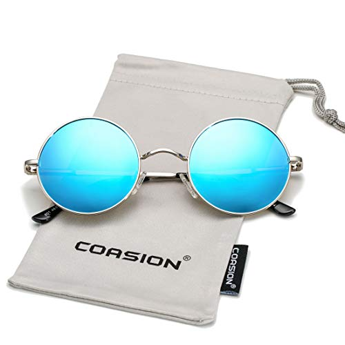 (COASION Retro Small Round Polarized Sunglasses John Lennon Style Circle UV400 Sun Glasses (Silver Frame/Blue Mirror Lens) )