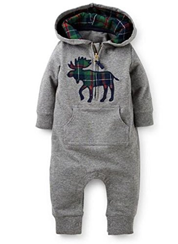 EGELEXY Infant Baby's Winter or Autumn Thicken Baby Clothes Climb Romper 12-18M Grey