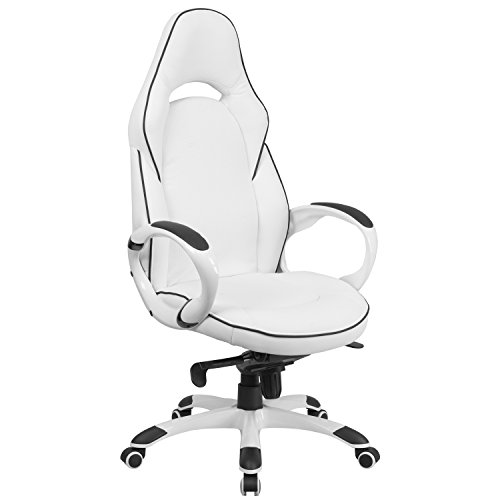 Vinyl High Back Executive Chair - Flash Furniture High Back White Vinyl Executive Swivel Chair with Black Trim and Arms