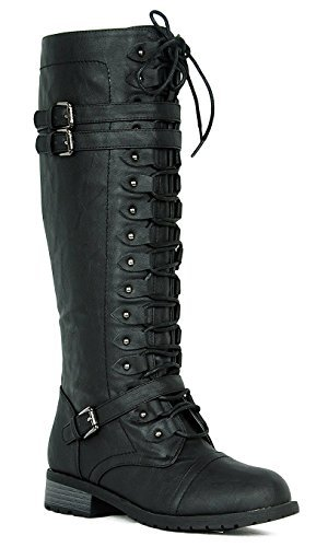 Wild Diva Women's Fashion Timberly-65 Military Knee High Combat Boots Shoes Black Pu -