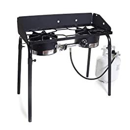 Camp Chef Explorer, Two Burner Stove, Two 30,000 BTU's cast-aluminum burners, Cooking Dimensions: 14 in. x 32 in