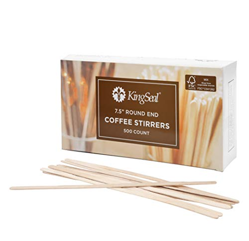 KingSeal FSC Certified Sustainably Sourced Birch Wood Coffee Stirrers, Stir Sticks - 7.5 Inches, Round End, 10 Packs of 500 per - Fsc Wood