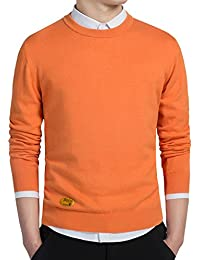 Sugarwewe Men's Basic Crew Neck Lightweight Pullover Casual Knitted Sweater