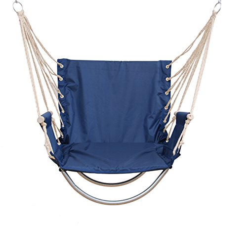Double Angel Loadable 150KG - Cushion insert in the backrest and seat - Padded hammock hanging Chair dormitories bedroom upgrade student hanging Chair swings home artifact student (Pure Navy) ()