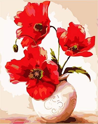 大人のための数字によるDIYペイント子供による数字によるペイントDIY絵画数字によるアクリルペイント絵画キット家の壁のリビングルームベッドルームの装飾6059-E202花瓶-アタッチメント