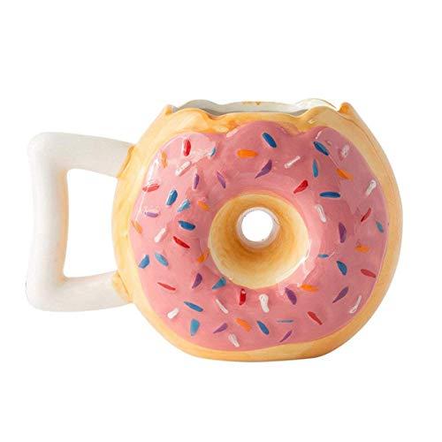 VANUODA Cute Creative Ceramic Bread Cup Donut Mug Biscuit Coffee Tea Milk Breakfast Drinking Mug Art Handmade Office Adult Kids Porcelain Cup Gift (Pink)