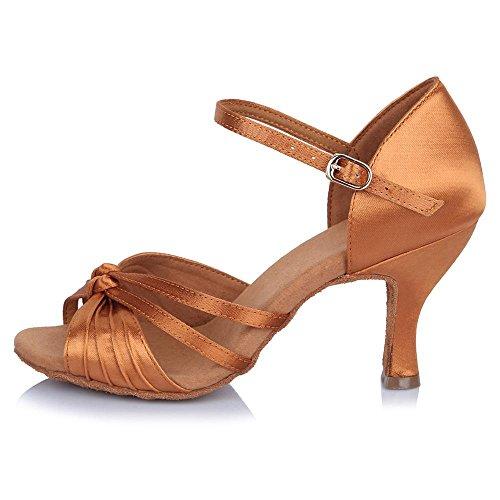 Yff Salón américa Fiesta Zapatos Profesional Baile De Tango Brown Satén Salsa rwr8P6q