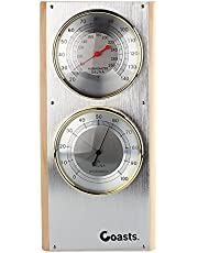 "Jian Ya Na Acero Inoxidable Sauna termómetro higrómetro Vertical 7.7""x 5"" x0.8"" Plata"