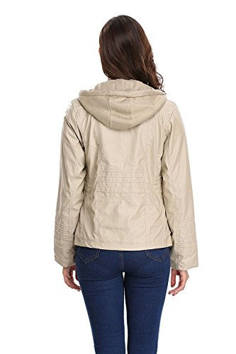 Amazon.com: zm Z.M Womens Hooded Removable Coat Fashionable Zipper Outerwear Detachable Faux Leather Moto Zip Jackets: Clothing