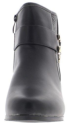 ChaussMoi Botas de Mujer Alta Tamaño Tacón 6 cm Cuero con Reborde Negro