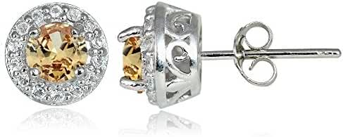 Sterling Silver Choice Of Birthstone Colors & White Topaz 4mm Halo Stud Earrings