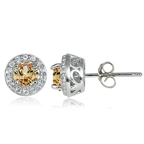 Sterling Silver Citrine & White Topaz 4mm Halo Stud Earrings