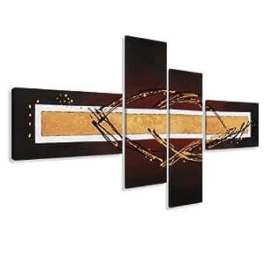 Cuadros en Lienzo abstracto 195 x 80 cm modelo Nr. 6808 XXL Las imágenes estan listas, enmarcadas en marcos de Madera auténtica. El diseño de la impresión artística como un Mural enmarcado.